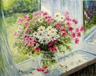 Картина маслом цветы «Букет» купить современную живопись Украина