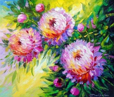 Картина с цветами «Букет пионов при солнечном свете» купить живопись для современных интерьеров Украина