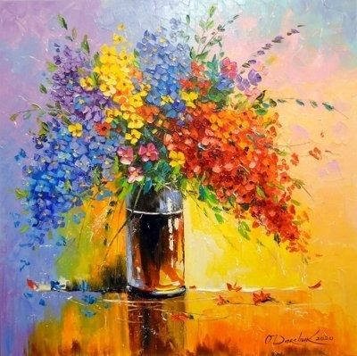 Картина с цветами «Букет полевых цветов» купить живопись для современных интерьеров Украина