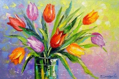 Картина с цветами «Букет разноцветных тюльпанов» купить живопись для современных интерьеров Украина