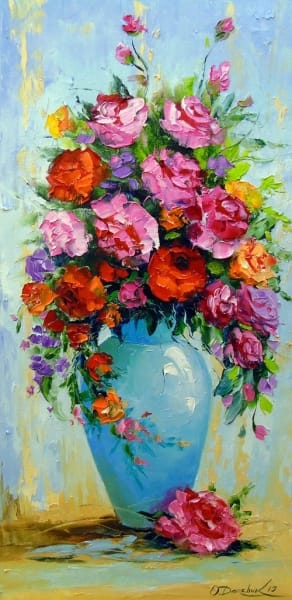 Картина маслом цветы «Букет роз в вазе» - купить живопись для современных интерьеров Украина