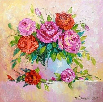 Картина с цветами «Букет роз в вазе» купить живопись для современных интерьеров Украина