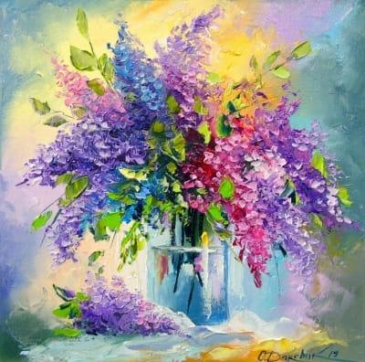 Картина цветы маслом «Букет сирени» купить живопись для современных интерьеров Украина