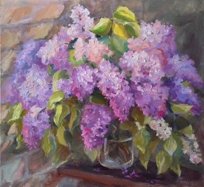 Картина цветы «Букет сирени» купить живопись для современных интерьеров Украина