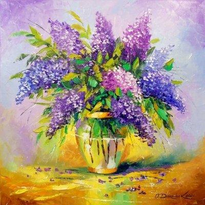 Картина с цветами «Букет сирени» купить живопись для современных интерьеров Украина