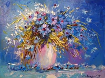 Картина маслом цветы «Букет васильков» купить живопись для современных интерьеров Украина