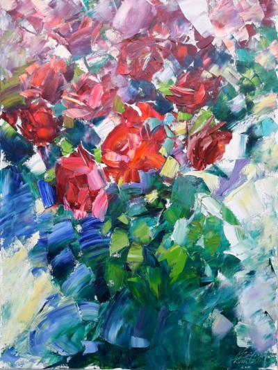 Картина маслом цветы «Букет ярких роз» купить живопись для современных интерьеров Украина