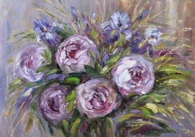 Картина живопись маслом с цветами «Букет» купить современную живопись Киев