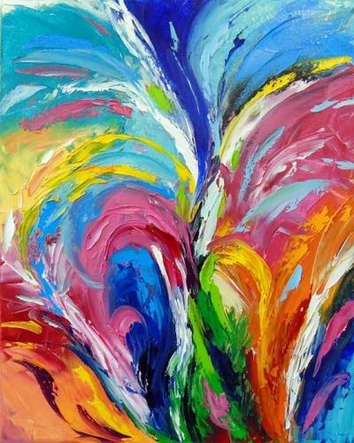 Абстрактная картина «Цветной фонтан» купить живопись для современных интерьеров Украина