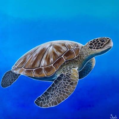Картина акрил анималистика «Черепаха» купить живопись для современных интерьеров Украина
