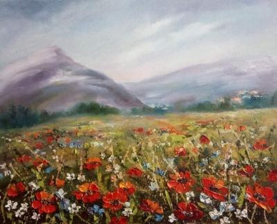Картина маслом цветы «Цветущие маки» купить живопись пейзаж Украина