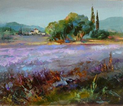 Картина пейзаж «Цветение лаванды» купить живопись для современных интерьеров Украина