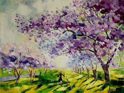 Картина маслом весенний пейзаж «Цветение весны» купить живопись для современных интерьеров Украина