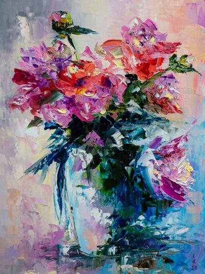 Картина маслом живопись «Цветы» купить живопись для современных интерьеров Киев