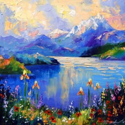 Картина маслом природа пейзаж «Цветы у озера» - купить живопись для современных интерьеров Украина