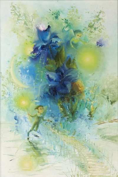Картина детям сказочный пейзаж «Цветник Эоланты» купить живопись для детской комнаты Киев