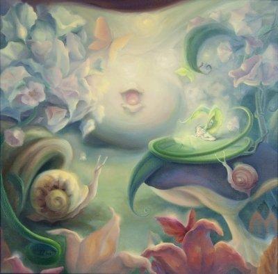 Картина сказочный пейзаж «Цветные сумерки» купить живопись для детской комнаты Киев