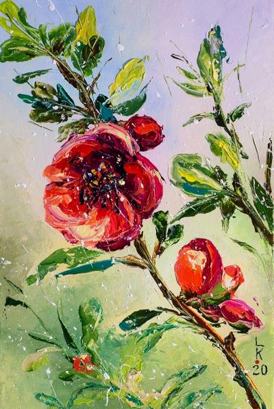 Картина маслом цветы «Цветущая ветка» купить живопись для современных интерьеров Украина