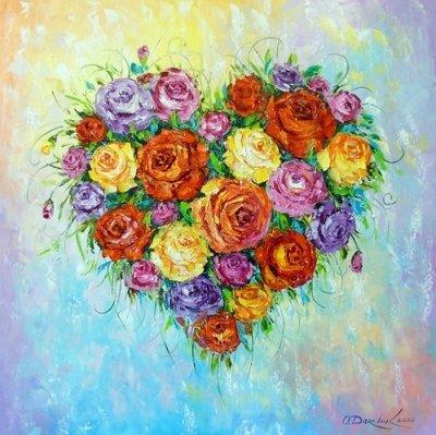 Картина с цветами «Цветущее сердце» купить живопись для современных интерьеров Украина