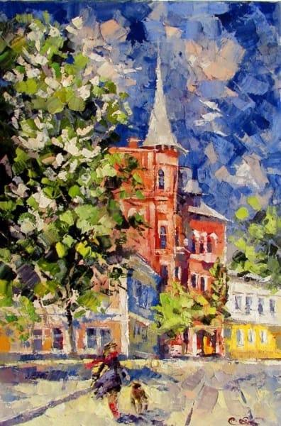 Картина маслом киевский пейзаж «Цветут каштаны» - живопись для современных интерьеров Украина