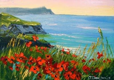 Картина маслом летний пейзаж «Цветы на берегу моря» купить живопись для современных интерьеров Украина