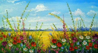 Картина маслом летний пейзаж «Цветы в поле» купить живопись для современных интерьеров Украина