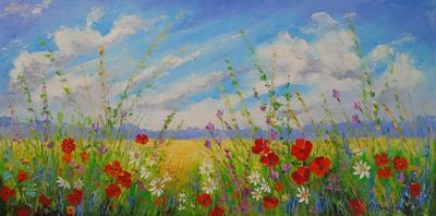 Картина маслом летний пейзаж с цветами «Цветы в поле» купить живопись для современных интерьеров Украина