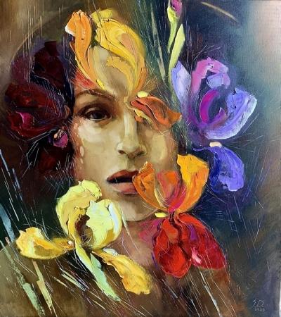 Картина маслом «Dame Iris» купить современную живопись Украина