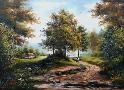 Картина «Сельский пейзаж. Дорога»