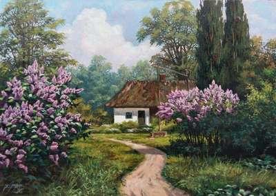 Картина «Сельский пейзаж с сиренью»