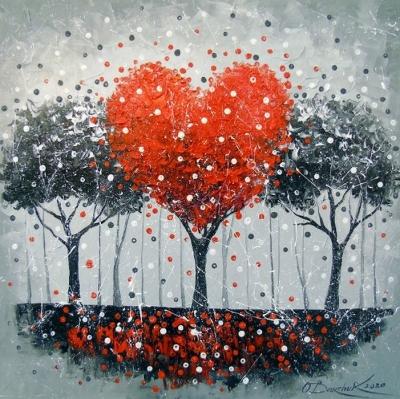 Абстрактная картина «Дерево любви» купить живопись маслом для современных интерьеров Украина