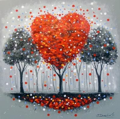Картина маслом «Дерево любви» купить живопись для современных интерьеров Украина