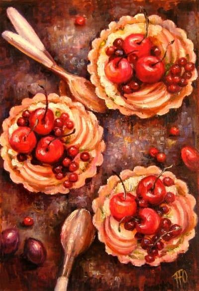 Картина натюрморт «Bon appetit» Десерт» купить живопись для современных интерьеров Украина