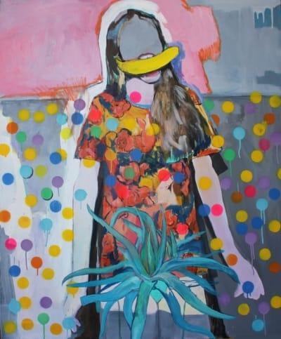 Картина акрил серия La section d'or «Девочка с бананом» купить живопись для современных интерьеров Киев
