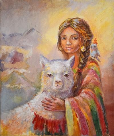 Картина детям «Девушка и лама» купить картину маслом Киев