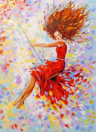 Картина «Девушка на качели»