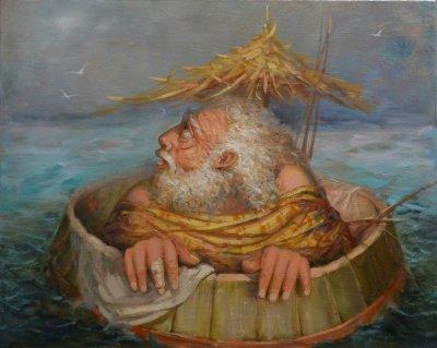 Картина маслом «Диалог» купить живопись для современных интерьеров Украина