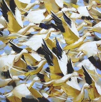 Картина маслом с птицами «Динамика» купить живопись для современных интерьеров Украина