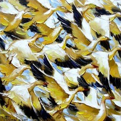 Картина маслом птицы «Динамика» купить живопись для современных интерьеров Украина