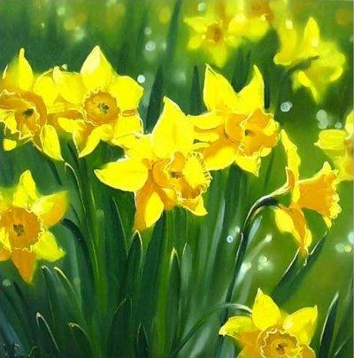 Картина маслом цветы «Динамика весны» купить живопись для современных интерьеров Украина