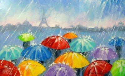 Картина городской пейзаж «Дождь в Париже» купить живопись для современных интерьеров Украина