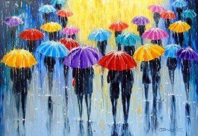 Картина пейзаж «Дождь в разноцветных зонтиках» купить живопись для современных интерьеров Украина