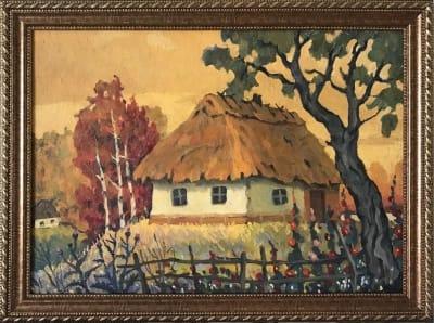 Картина «Домик на холме» купить живопись для современных интерьеров Украина пейзаж сельский