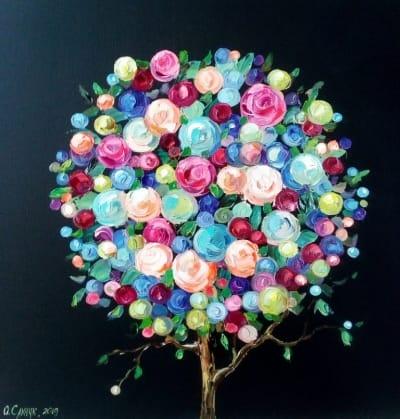 Картина «Дерево Радости» купить живопись для современных интерьеров Украина