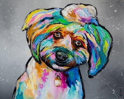 Картина маслом детям «Друг» купить живопись для современных интерьеров Украина