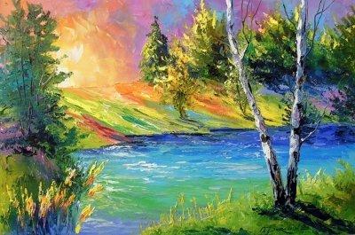 Картина маслом летний пейзаж «Две березы у реки» купить живопись для современных интерьеров Украина