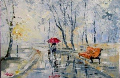 Картина маслом пейзаж «Двое в тумане» купить живопись для современных интерьеров Украина