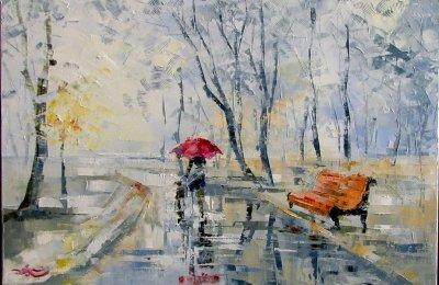 Картина маслом осенний пейзаж «Двое в тумане» купить живопись для современных интерьеров Украина