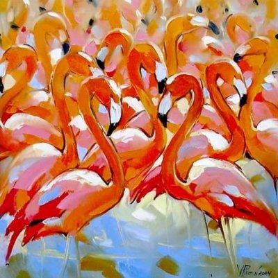 Картина  «Фламинго» купить живопись для современных интерьеров Украина