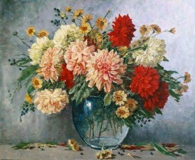 Картина маслом цветы «Георгины» купить современную живопись Украина